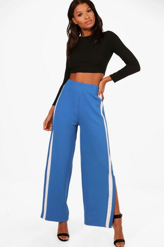Contrast Panel Wide Leg Relaxed Trousers