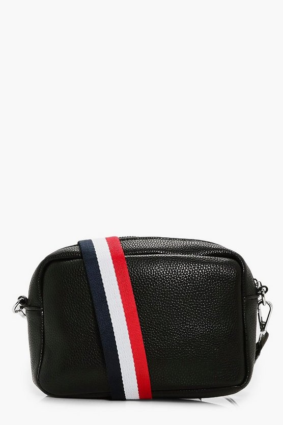 Womens Black Ivy Stripe Web Strap Camera Bag