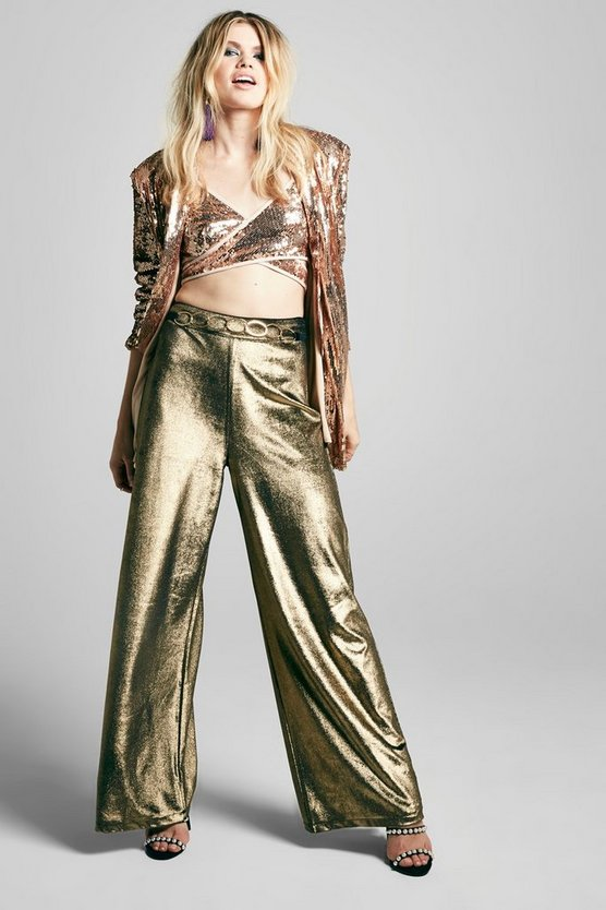 Metallic Velvet Wide Leg Trouser