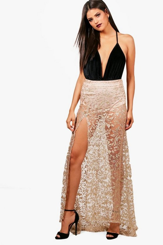 Glitter Mesh Baroque Fishtail Sheer Maxi Skirt