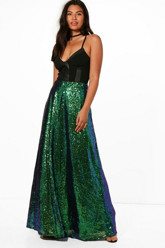 Premium Floor Sweeping Sequin Maxi Skirt