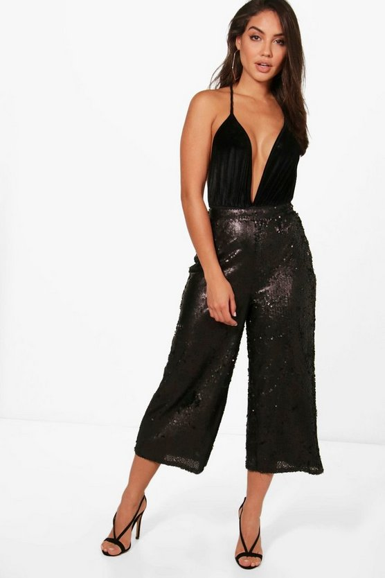 All Over Sequin Wide Leg Culottes