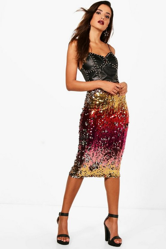 Ombre Sequin Midi Skirt