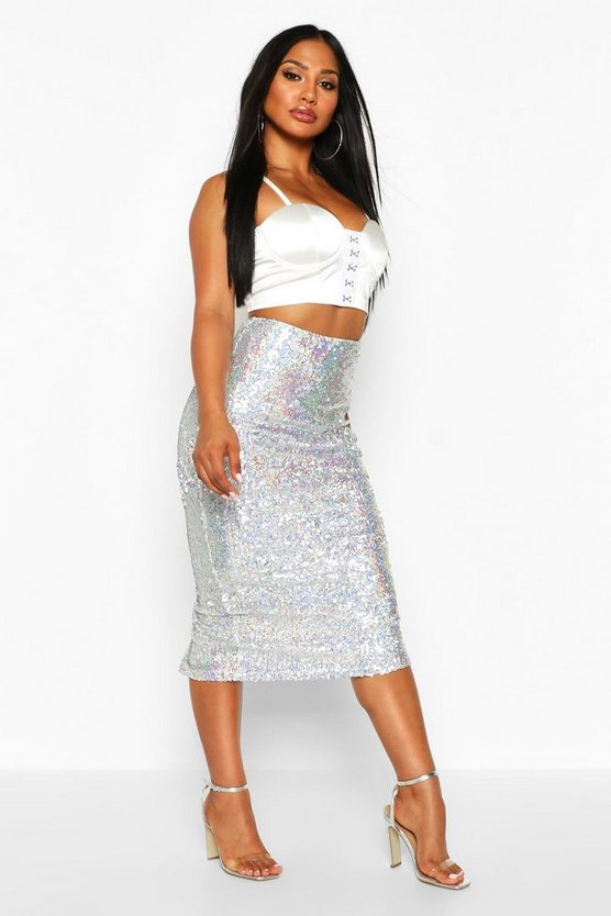Womens Silver Holographic Sequin Long Line Midi Skirt