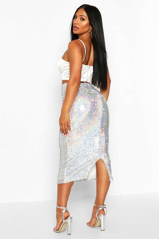 Holographic Sequin Long Line Midi Skirt