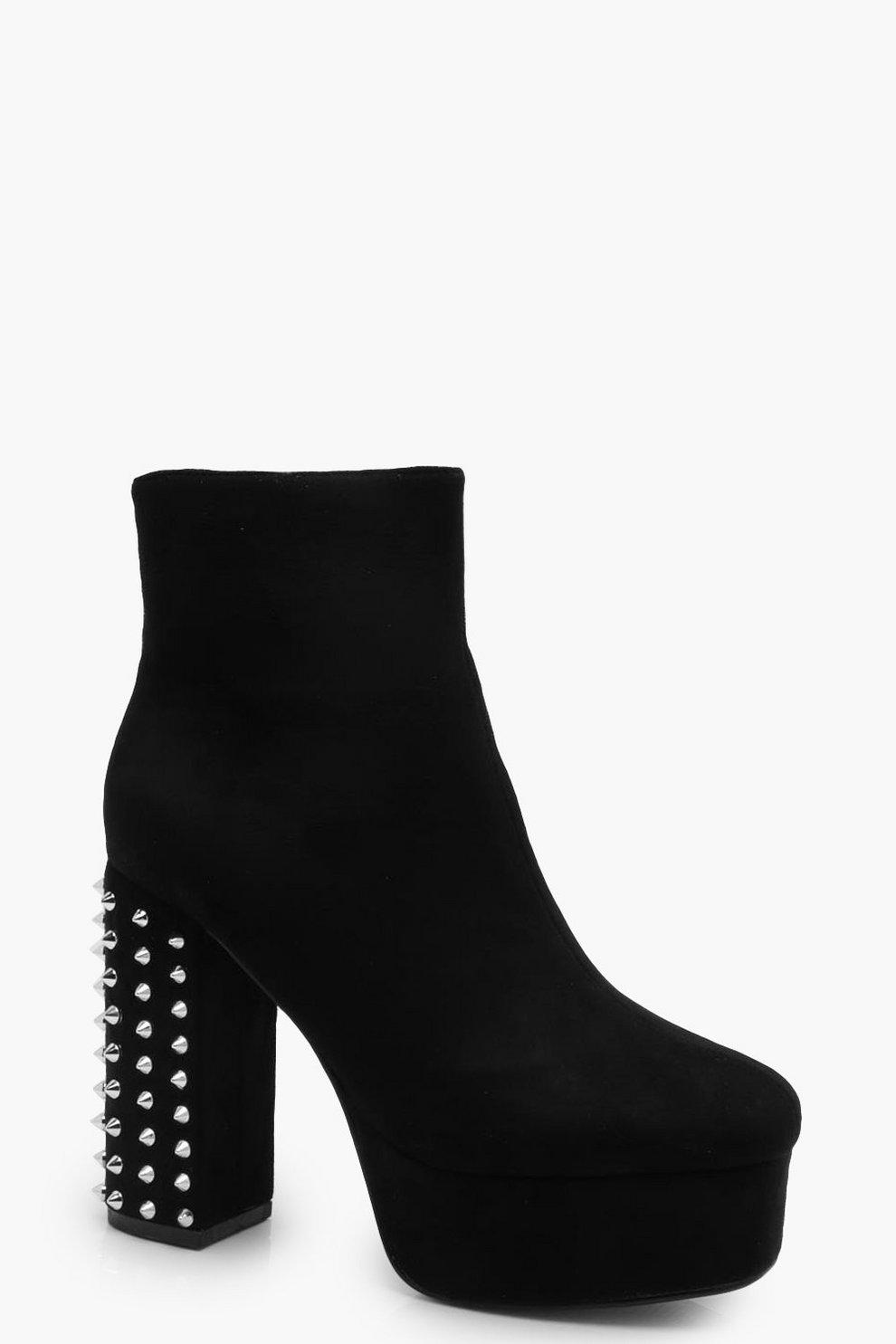 a4df2ee44d Studded Block Heel Platform Boots | Boohoo
