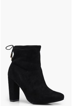 Block Heel Sock Boots, Black