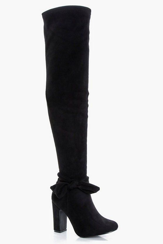 Serena Bow Trim Over the Knee Boots