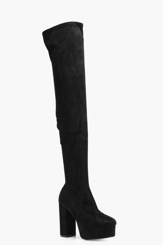 Platform Block Heel Over the Knee Boots
