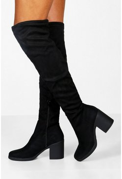 Chunky Over the Knee Boots, Black