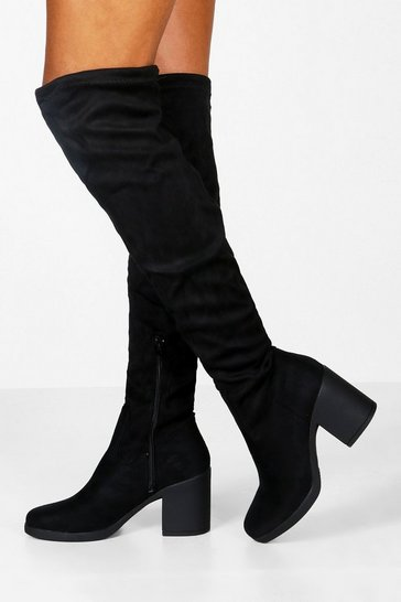 Womens Black Chunky Over the Knee Boots