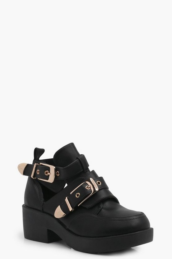 Lydia Double Buckle Cut Work Chunky Boot