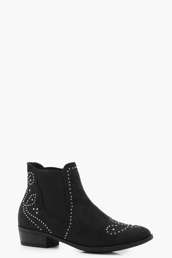 Pin Stud Western Detail Ankle Boots