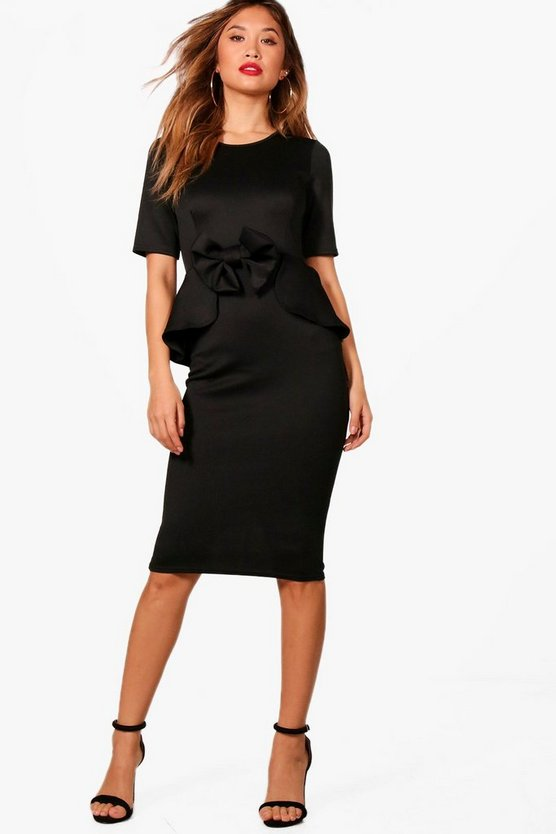 Bow Detail Peplum Midi Dress