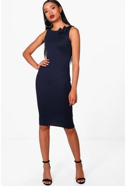 Womens Navy Nicole Bow Detail Midi Dress