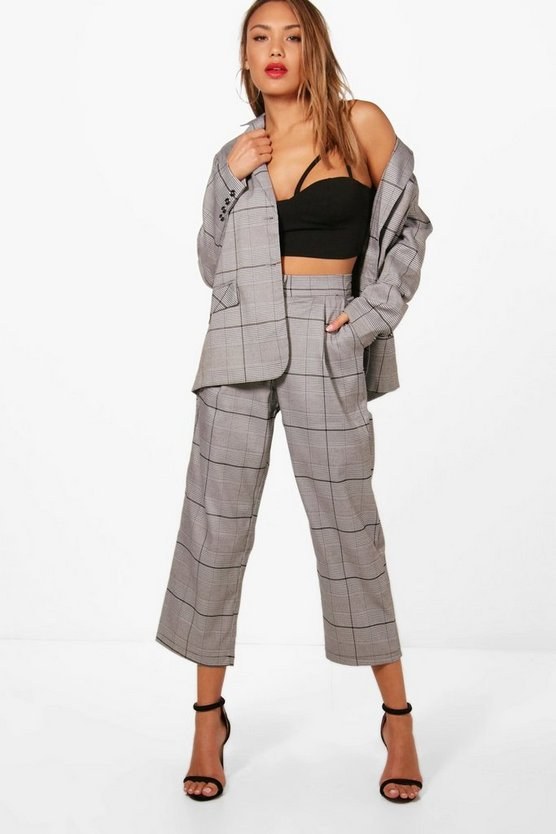 Ellie Check Wide Leg Trouser