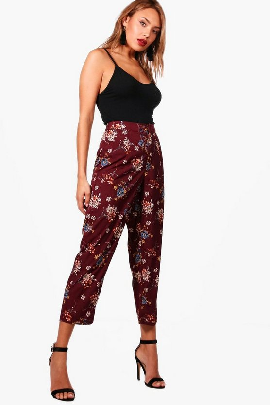 Womens Burgundy Evie Floral Trouser