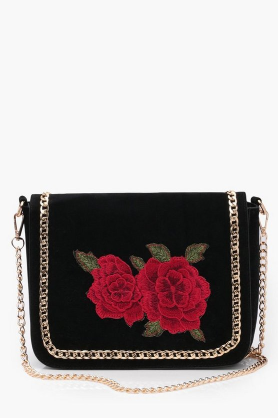 Suedette Embroidered Rose Cross Body Bag
