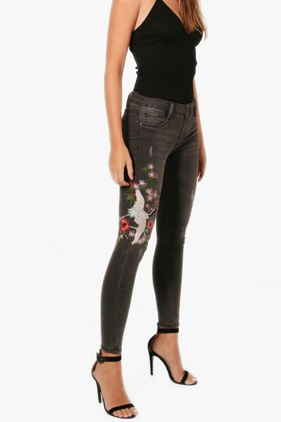 Oriental Embroidered Skinny Jeans