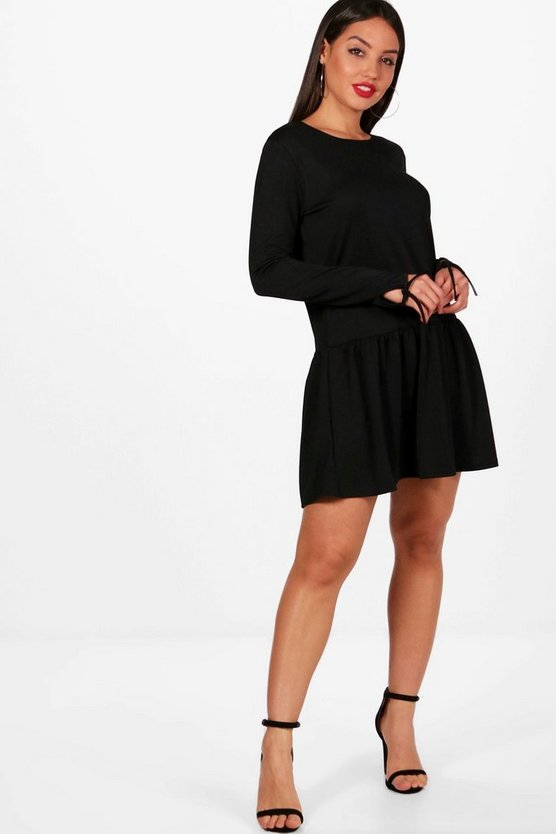 Drop Hem Tie Sleeve Shift Dress
