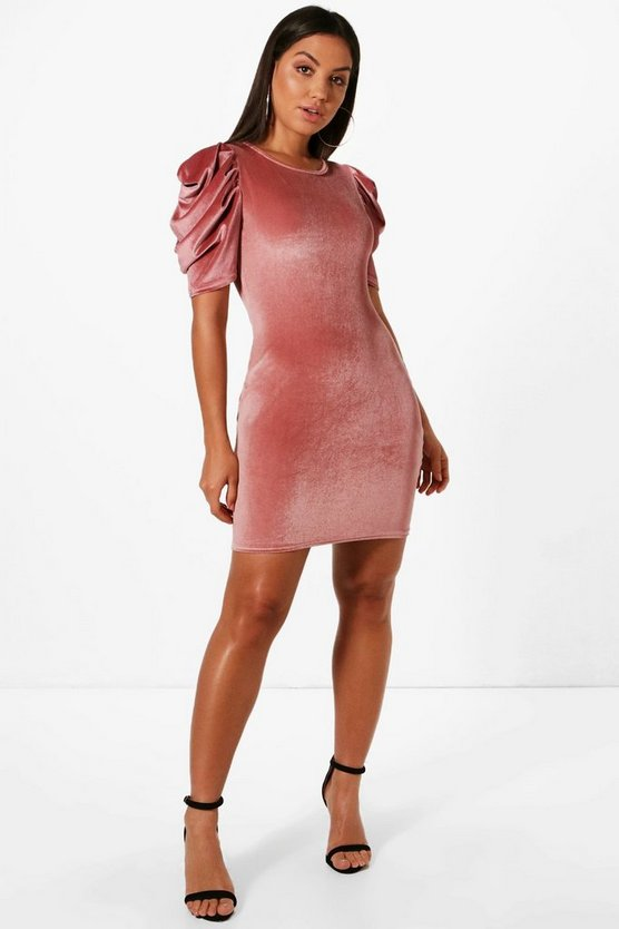 Velvet Balloon Sleeve Shift Dress