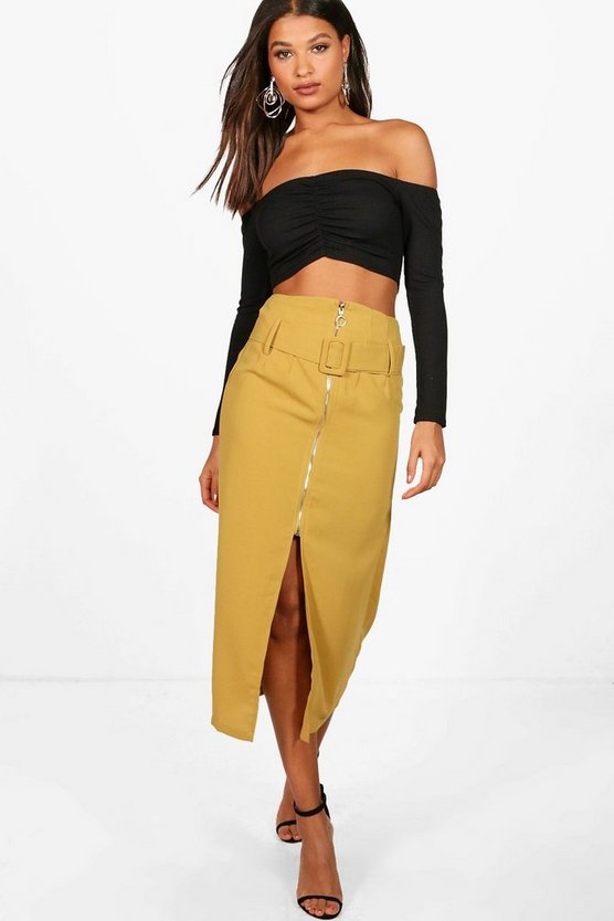 Buckle Front Split Zip Detail Midi Skirt