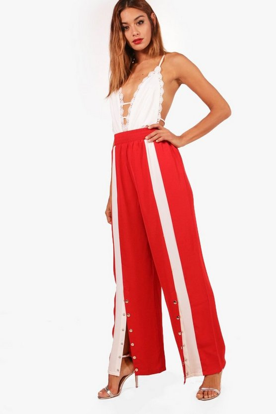 Popper Front Wide Leg Trousers