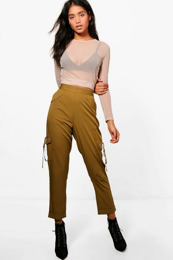 Pocket Side Luxe Utility Trousers, Olive, MUJER