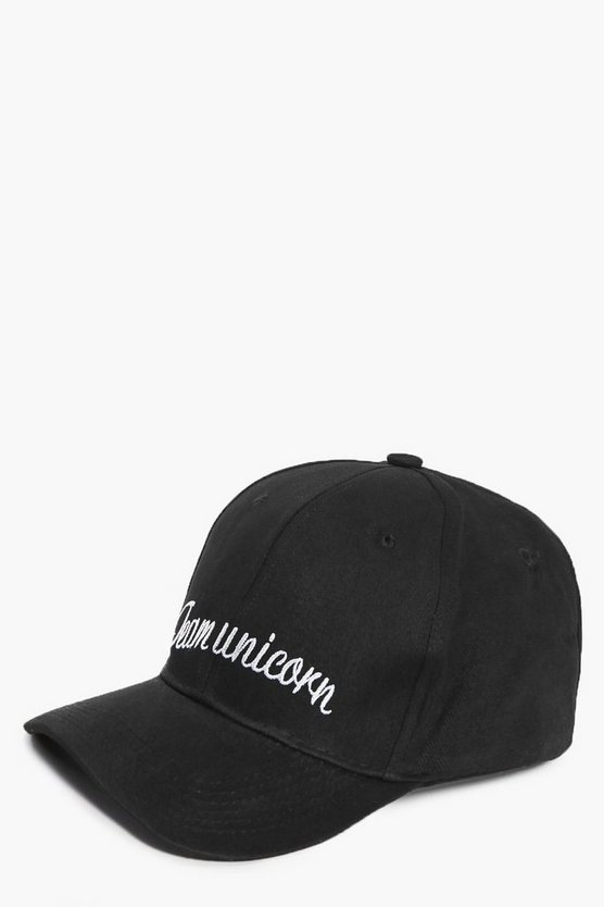 Womens Black Emma Team Unicorn Slogan Cap