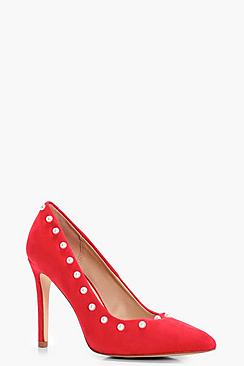 Rose Pearl Trim Court Shoes