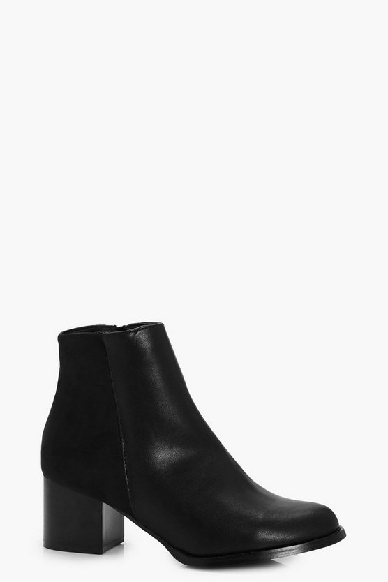 Wide Fit Mesh Back Block Heel Chelsea Boots