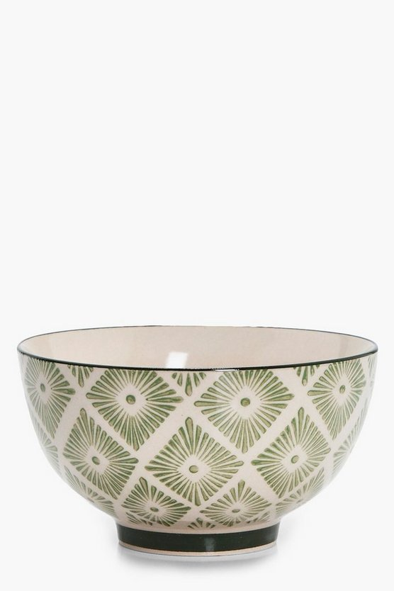 Womens Green Freya Moroccan Tile Print Bowl