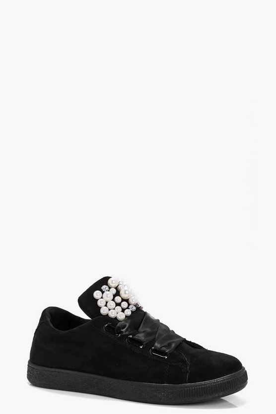 Millie Pearl & Diamante Ribbon Lace Trainers