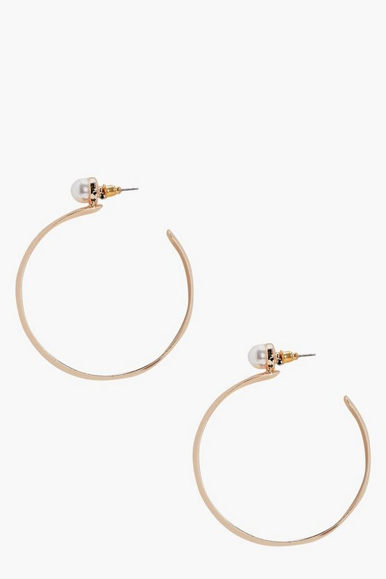 Sara Pearl Stud Hoop Earrings