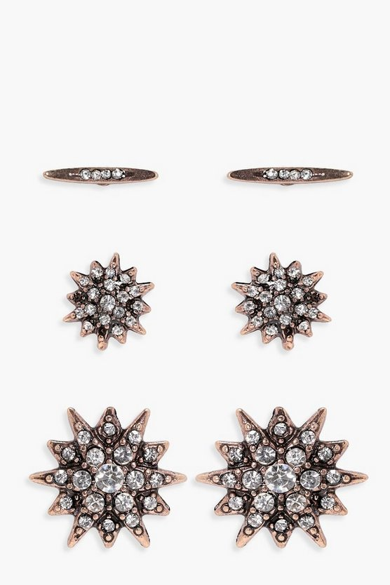 Lissy Diamante Star Stud 3 Pack