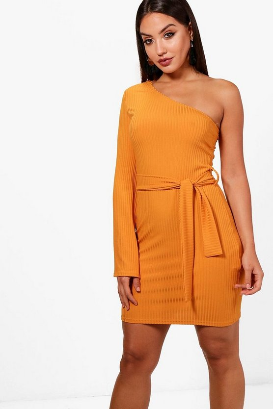 One Shoulder Tie Waist Shift Dress