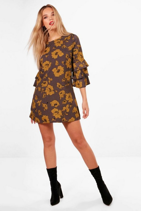 Ruffle Sleeve Floral Shift Dress