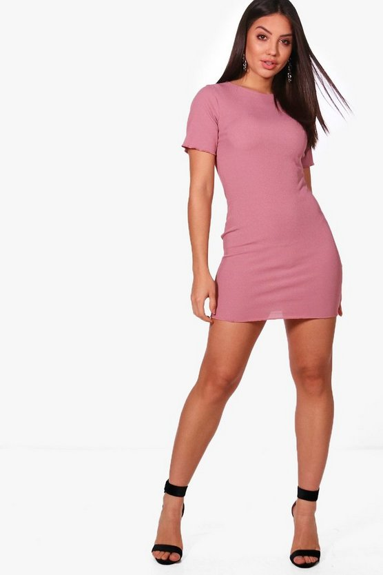 Ruffle Edge Rib Bodycon Dress