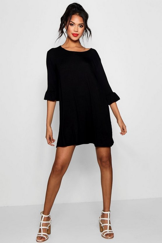 Round Neck Frill Sleeve Swing Dress