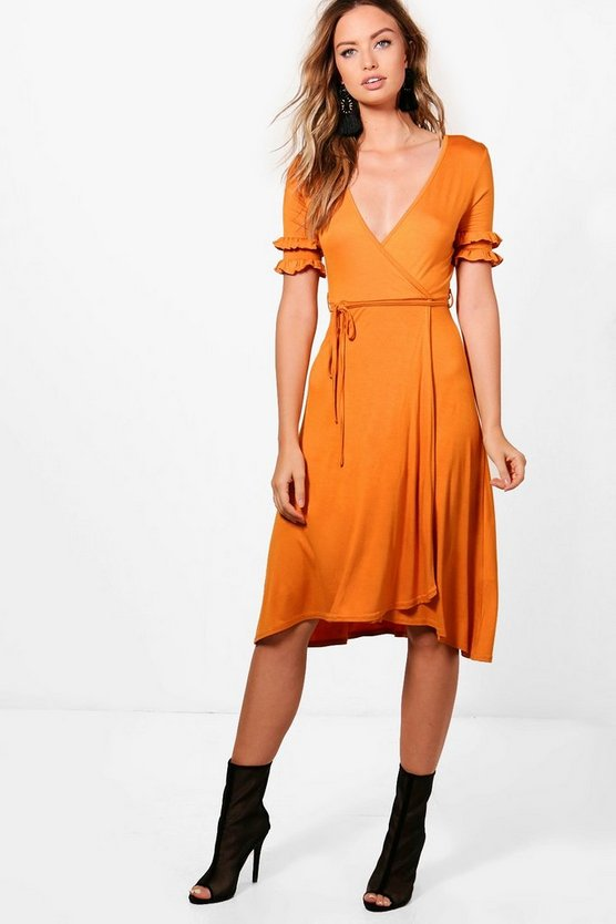 Double Frill Sleeve Wrap Midi Dress