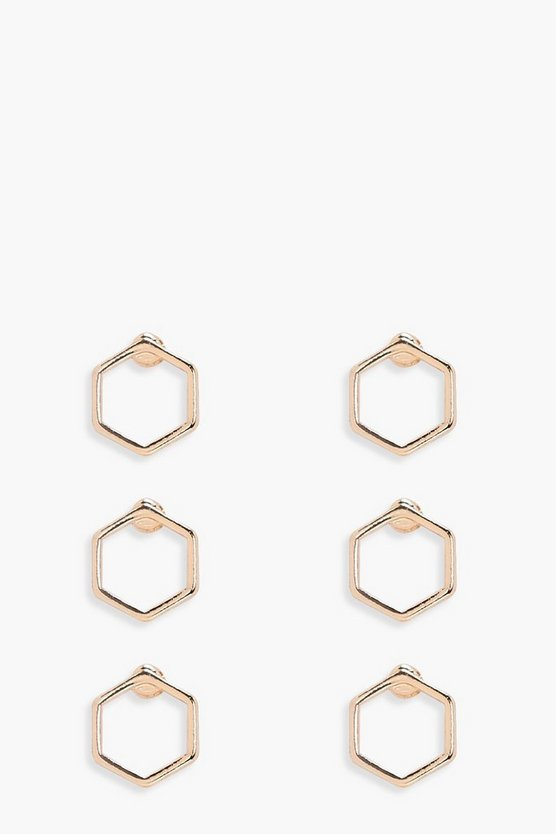 Abigail Mini Hexagon Hoop Earrings 3 Pack