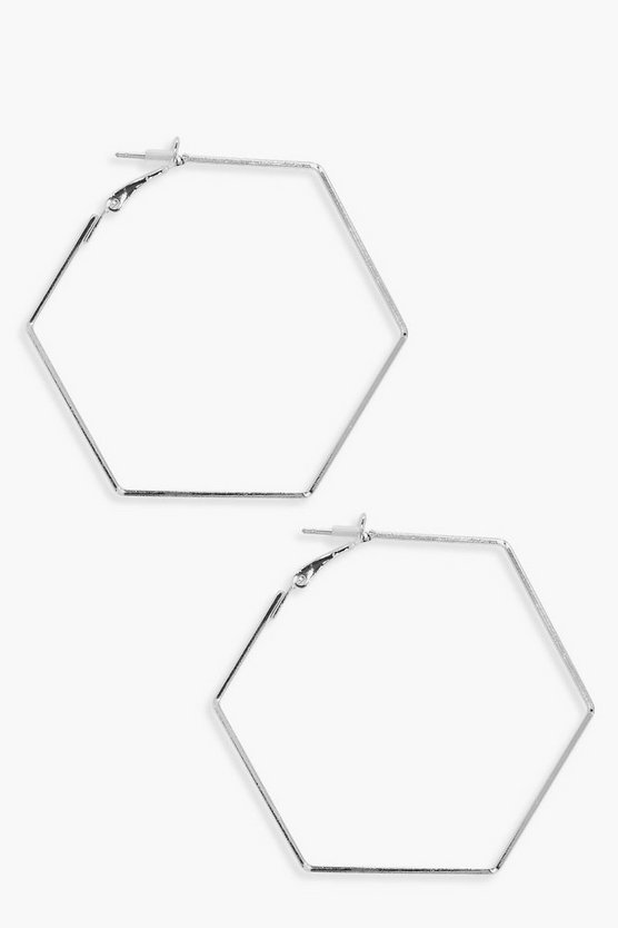 Hexagon Hooped Earrings