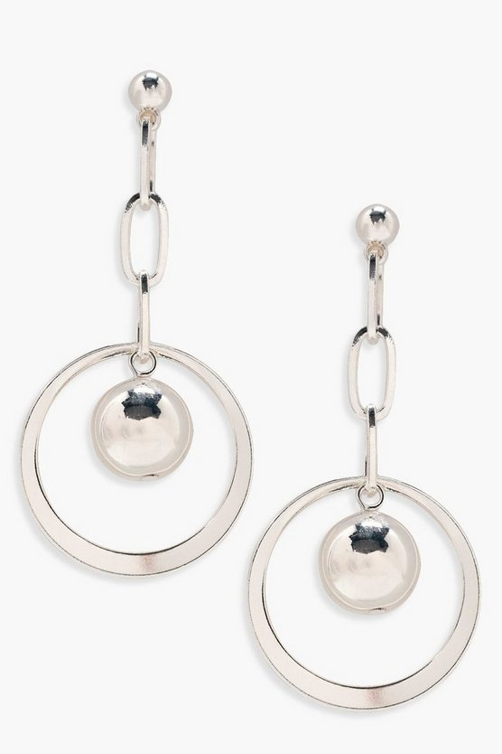 Ava Hanging Ball Detail Hoop Earrings