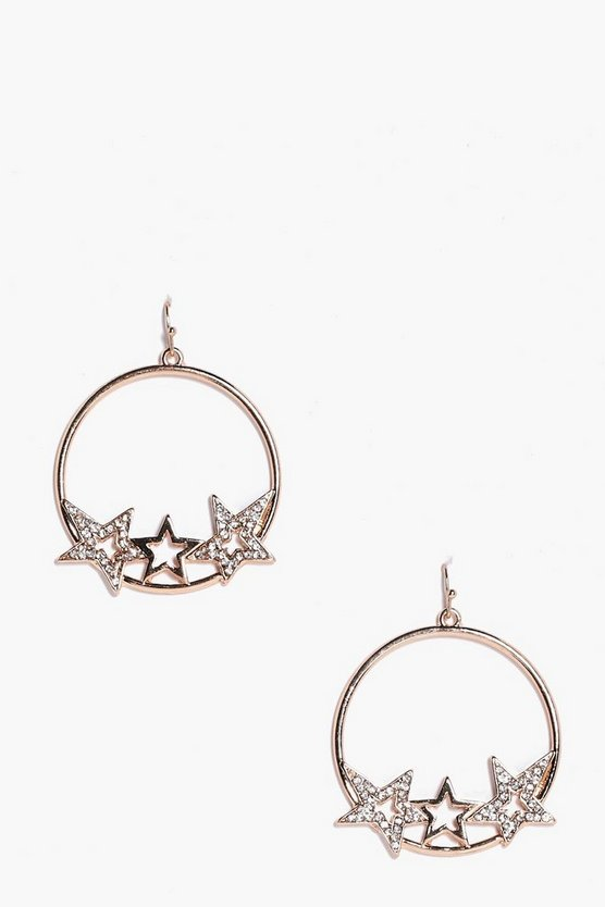 Emma Diamante Star Hoop Earrings