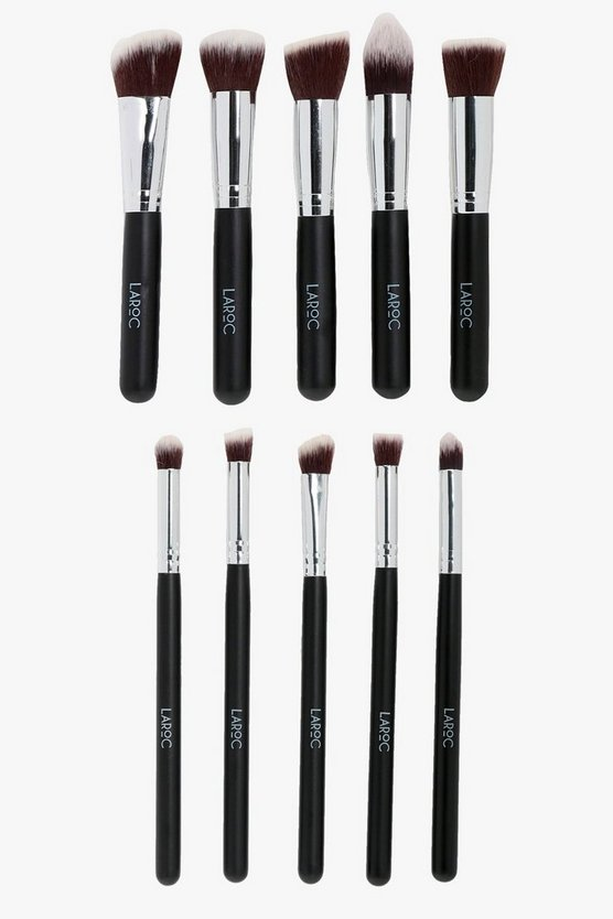 Womens Black Laroc Professional 10 Piece Brush Set