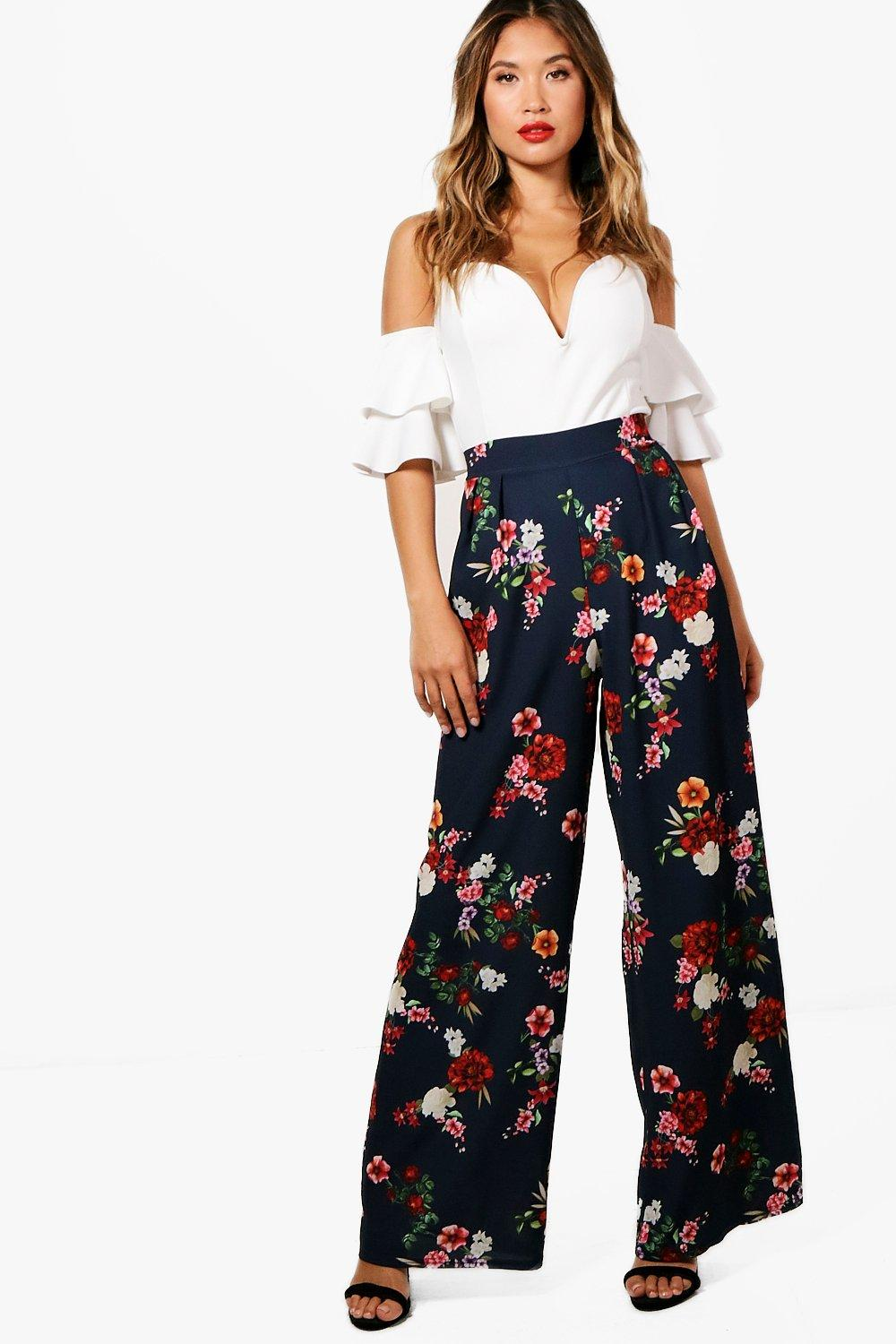 37f75dffa2d3 Womens Navy Joanna Floral Wide Leg Trouser. Hover to zoom