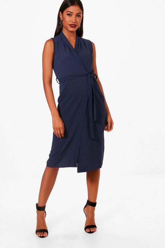 Wrap Over Belted Woven Dress