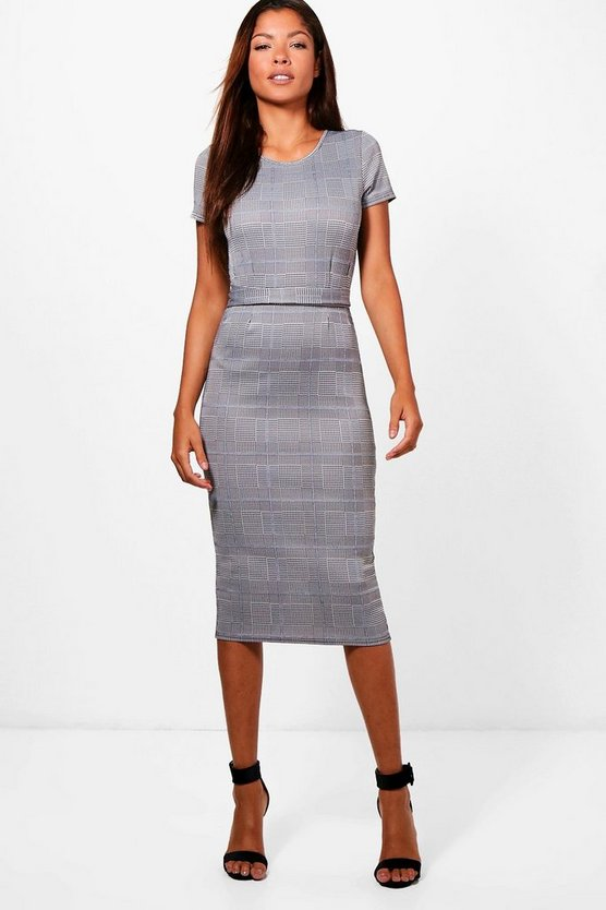 Check Belted Midi Dress