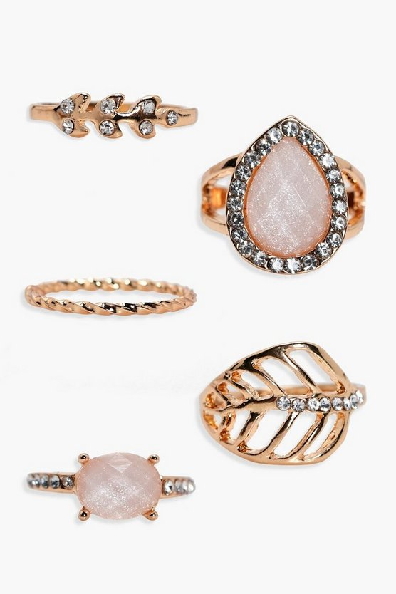 Womens Gold Diamante And Stone Detail Ring 5 Pack