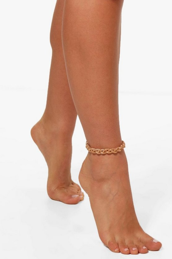 Womens Gold Plaited Chain Ankle